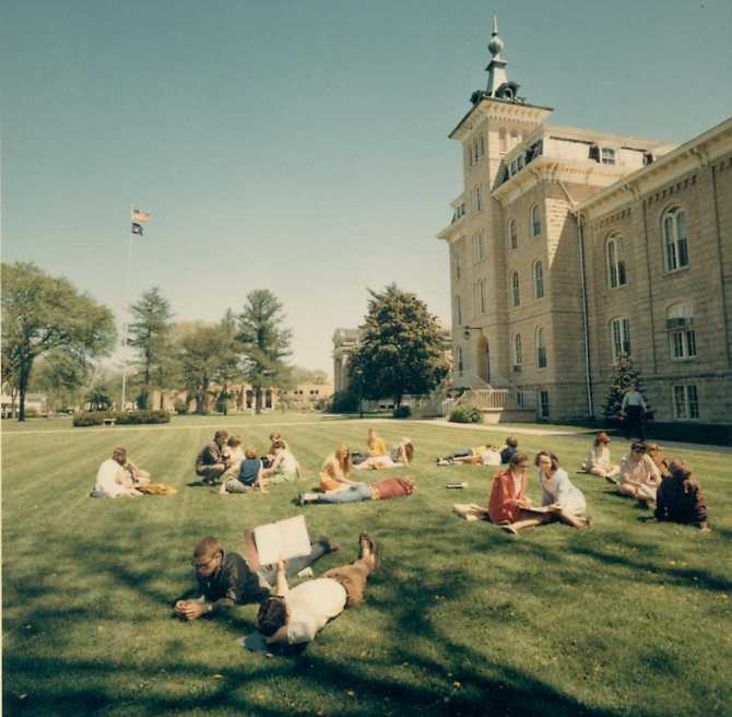 NCC students on old main lawn 1967